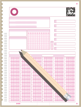 Illustration of a blank multiple choice exam answer sheet and pencil