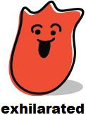 Cartoon blob shape that looks exhilarated
