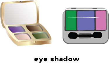 Illustration of two eye shadow compacts with different colors