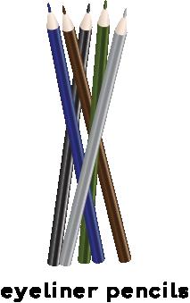 Illustration of several different colored eyeliner pencils