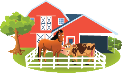 Image of a farm with barn and horse and cow in the barn yard