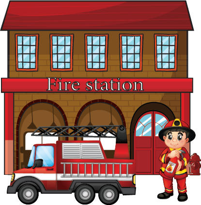 Illustration of a fire station with fireman and fire truck