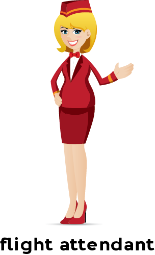 Illustration of a flight attendant in uniform