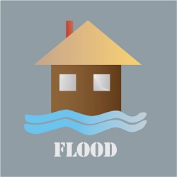 flood icon with house and water