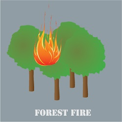 forest fire icon with four trees and a flame