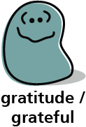 Cartoon blob shape that looks grateful