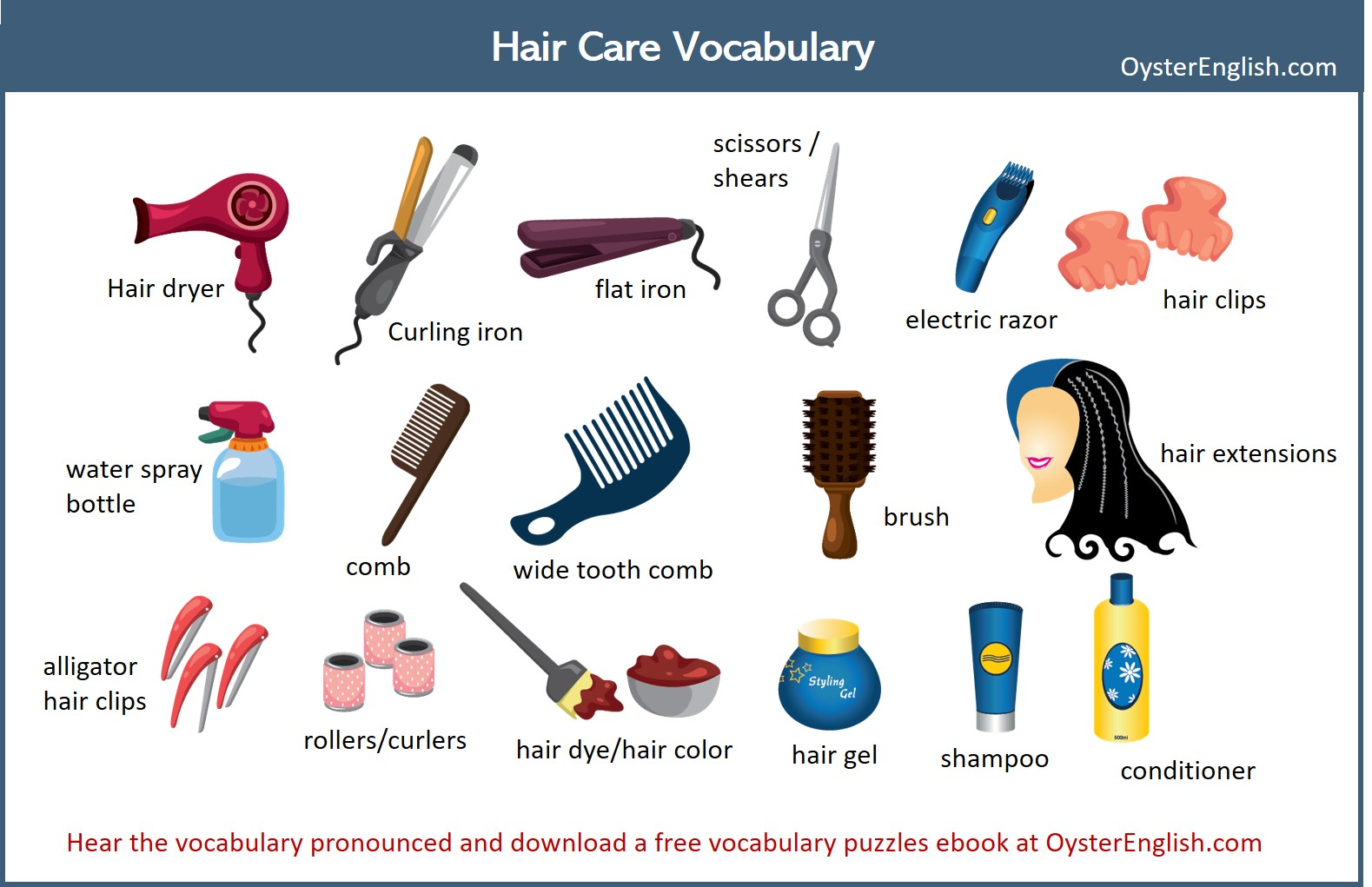 A collage of the hair care vocabulary icons and words featured on this page.