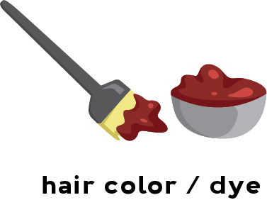 Illustration of a pot of hair dye and a brush used to apply hair color.