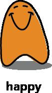 Cartoon blob shape that looks happy