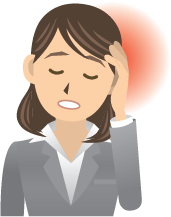 Cartoon woman holding her hand up to her head and grimacing in pain