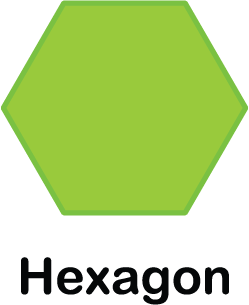 illustration of a hexagon shape (with 6 sides)