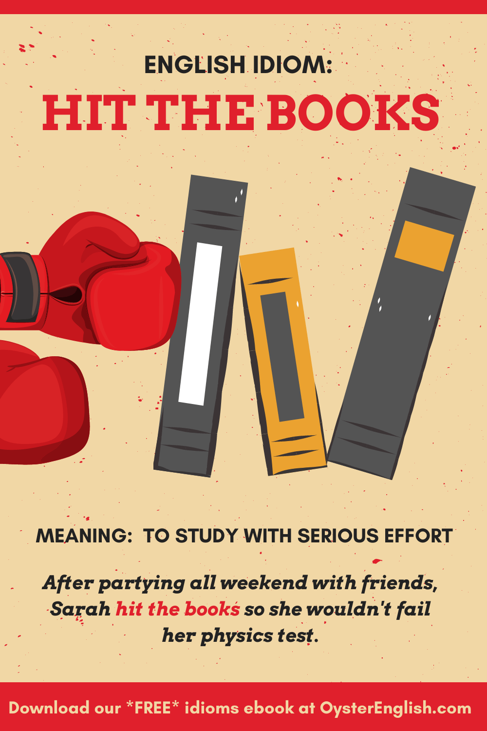 A pair of boxing gloves punch some books that are falling over. Caption: After partying all weekend with friends, Sarah hit the books so she wouldn't fail her physics test.