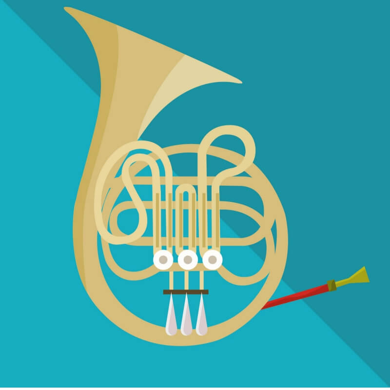 Image of a french horn musical instrument