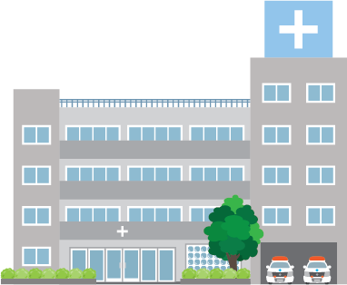 Illustration of the exterior of a hospital