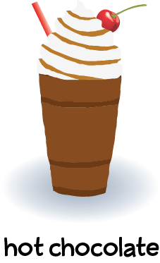 Illustration of a hot chocolate drink with whip cream, chocolate sauce and a cherry.