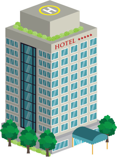 Illustration of the exterior of a highrise hotel