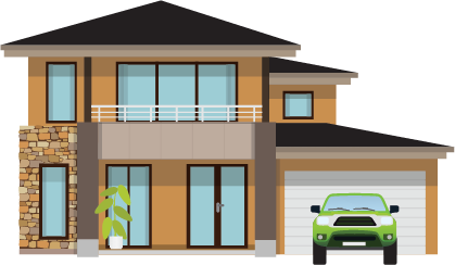 Illustration of a single-family home with garage