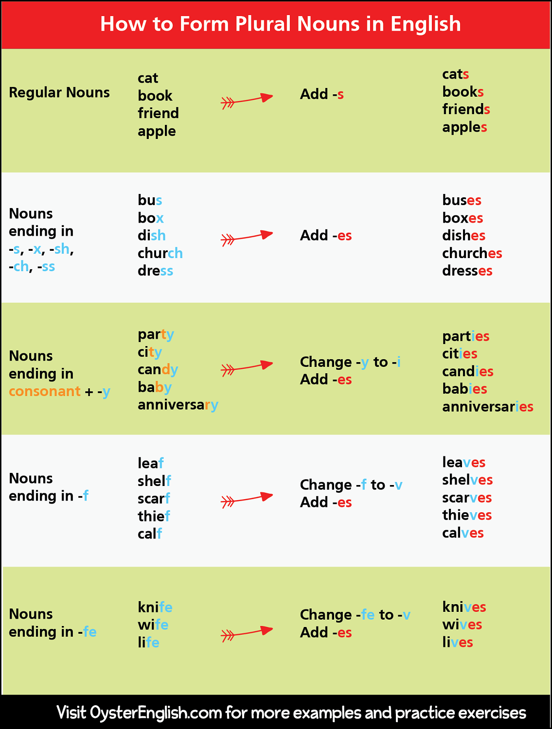 A detailed chart showing how to form plural nouns.