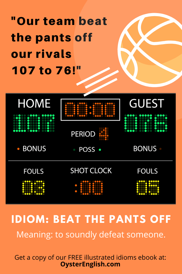 Basketball scoreboard showing the home team beating the visitors 107-76. Caption: Our team beat the pants off our rivals 107-76!