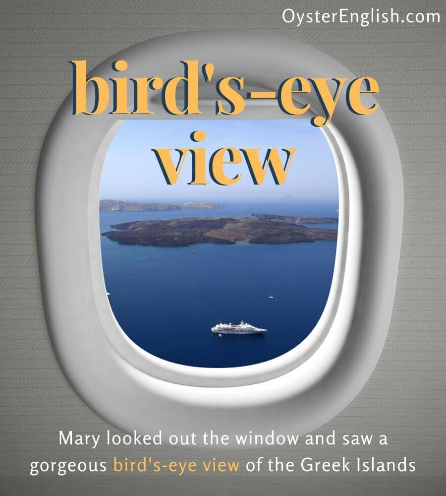 An overhead view from an airplane window of Greek islands and a cruise ship sailing in the ocean. Caption: Mary looked out the window and saw a gorgeous bird's eye view of the Greek islands.