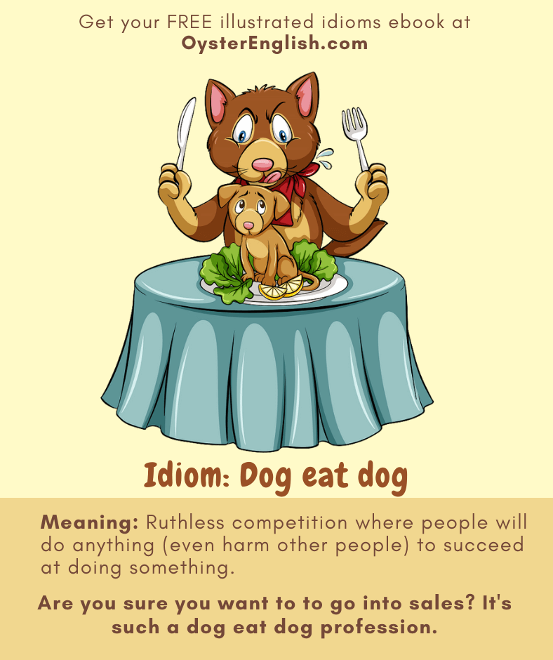 A large dog, holding a fork and knife in the air, is about to eat a small puppy sitting on a plate.