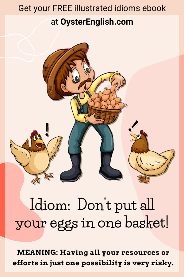 A cartoon farmer is putting one more egg in a basket of eggs that is already too full and two chickens are looking at the situation in despair.