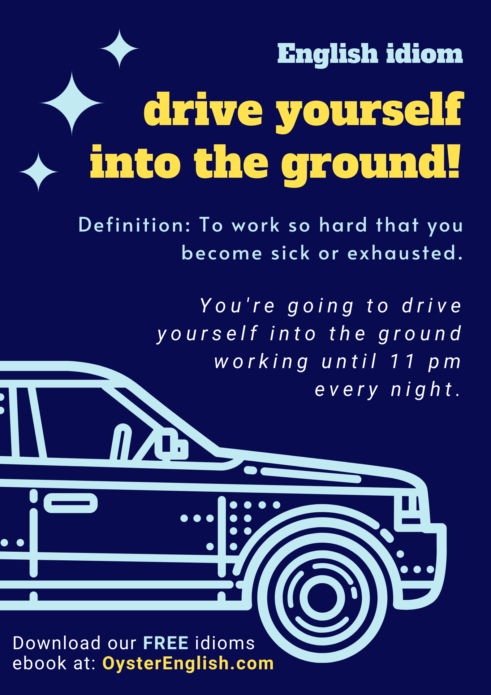 Picture of car and idiom definition + example: You're going to drive yourself into the ground working until 11 pm every night.