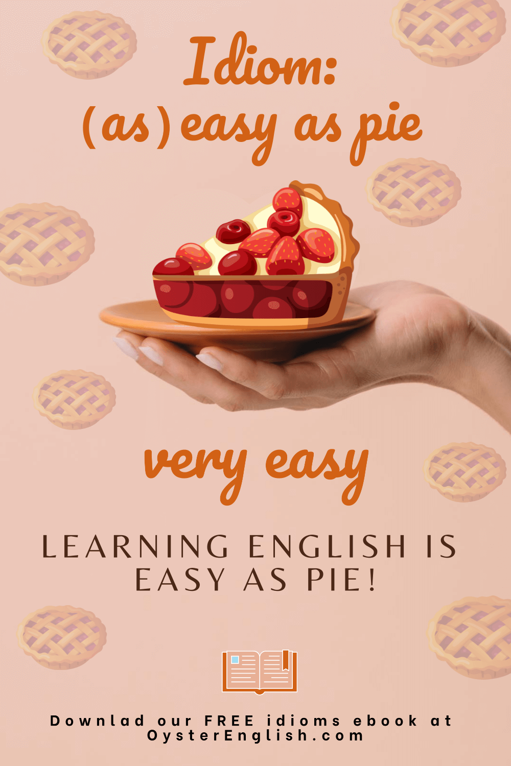 Picture of a hand holding a plate with a piece of strawberry and cherry pie to depict the idiom