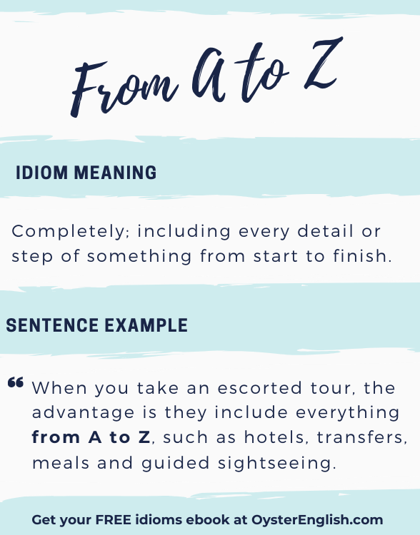 Visual text graphic with the meaning of the idiom From A to Z with a sentence example from the page.