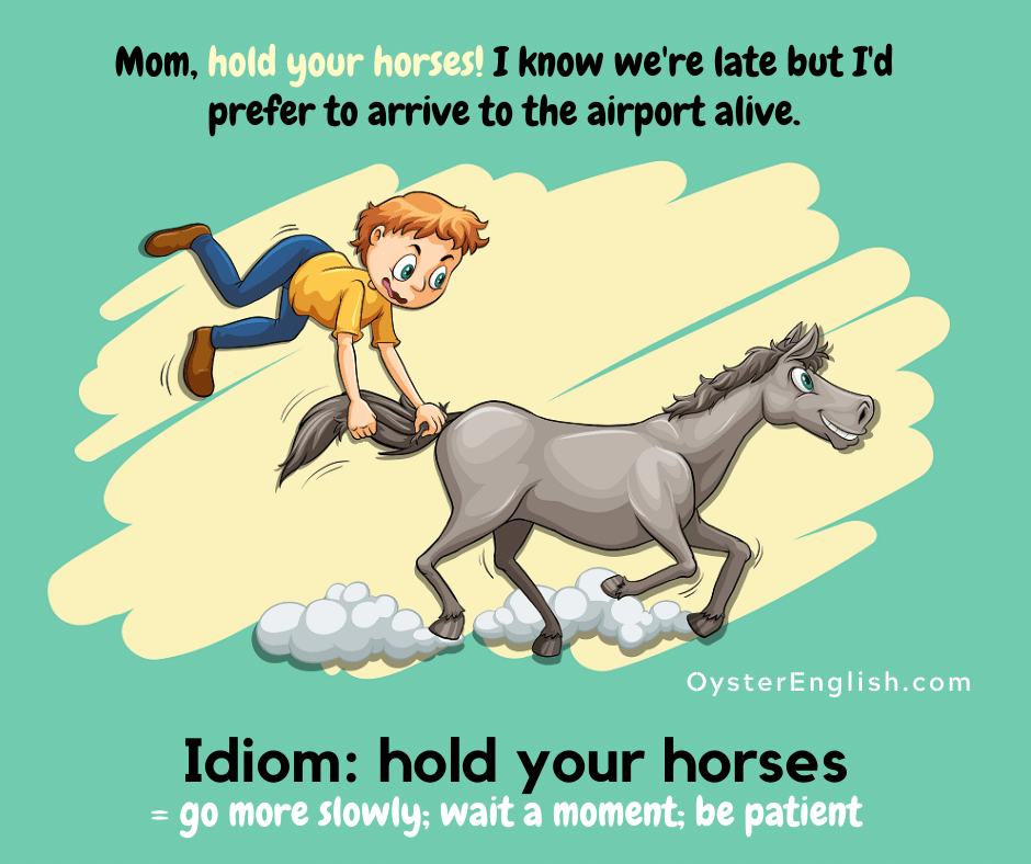 A horse is running fast and a boy is holding onto his tail and flying behind him in the air. Caption: Mom, hold your horses! I know we're late but I prefer to arrive to the airport alive.
