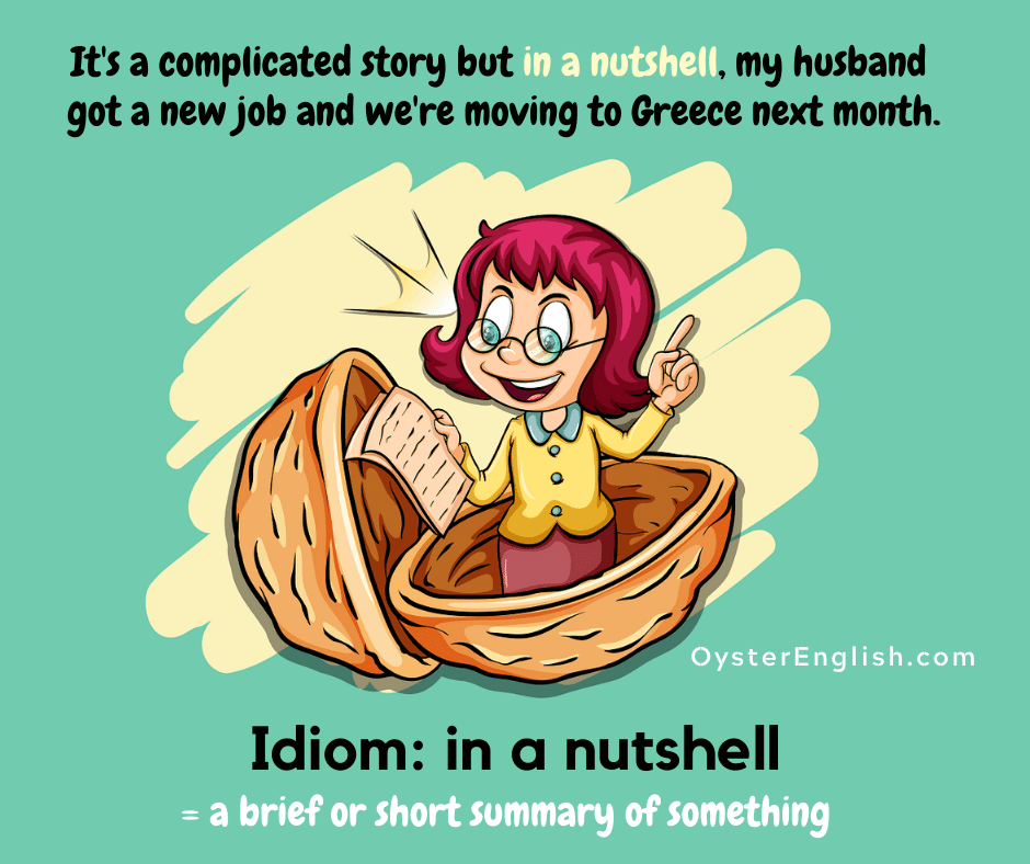 Cartoon woman standing inside a walnut shell reading from a sheet of paper to depict the idiom