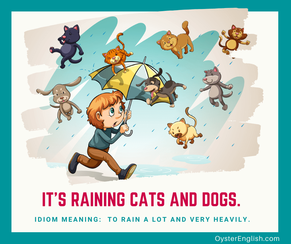 Illustration of a boy walking through the rain with his umbrella open and cats and dogs falling from the sky with the caption: It's raining cats and dogs (meaning: to rain a lot and very heavily)