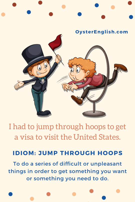 A ringmaster (circus leader) gestures as a man to jumps through a large hoop. Caption Example: I had to jump through hoops to get a visa to visit the United States.