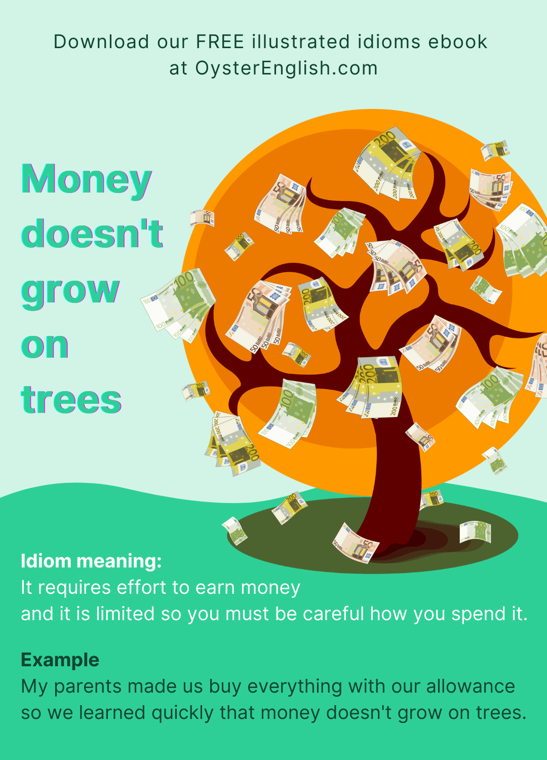 Image of a tree with euro bills attached to the branches. Caption: My parents made us buy everything with our allowance so we quickly learned that money doesn't grow on trees.