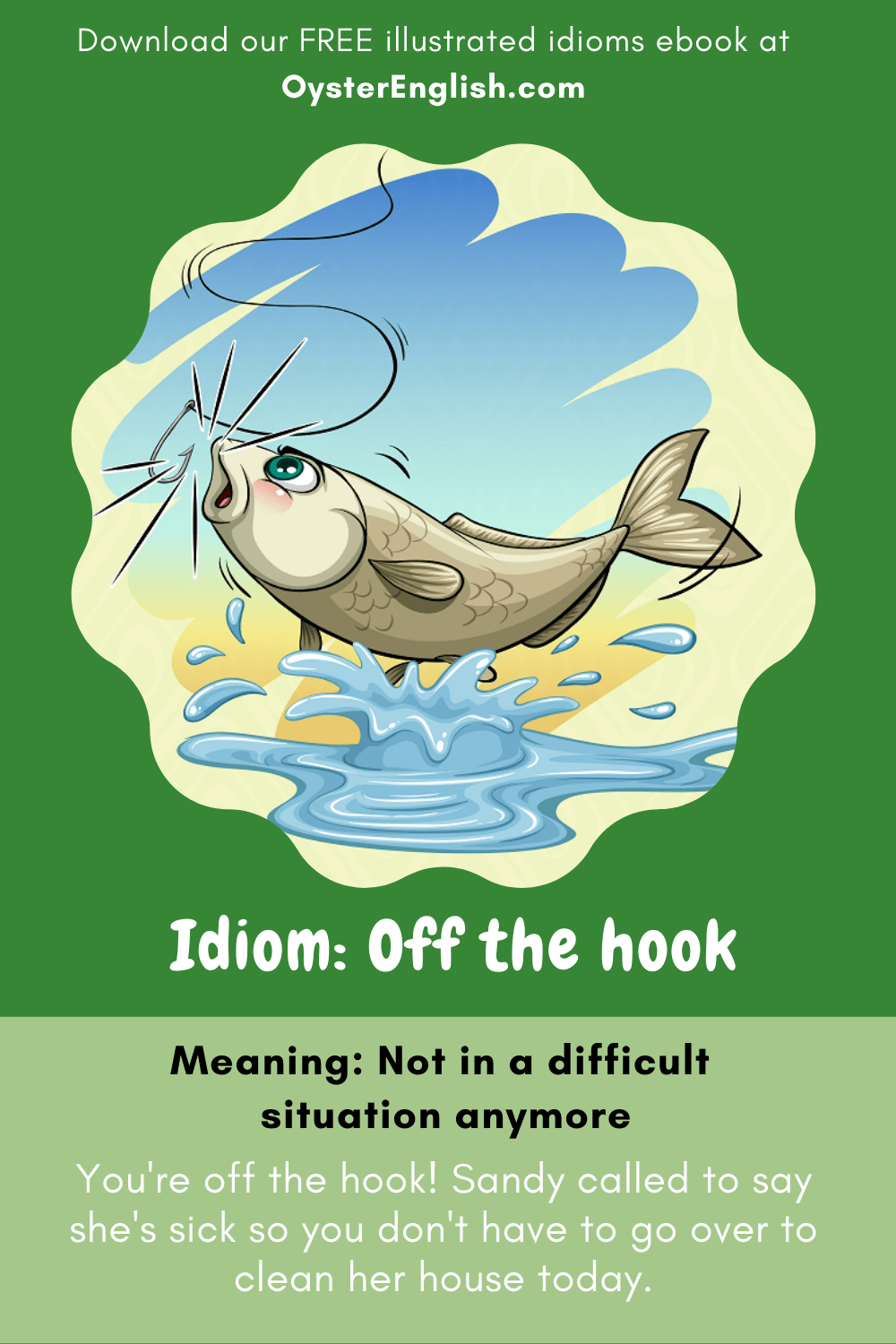 A fish escapes without biting on a fishing hook to depict the idiom