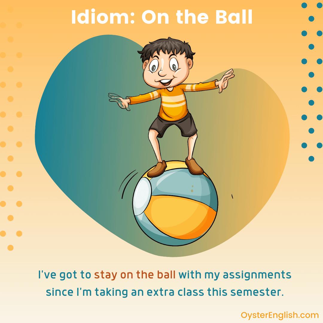Cartoon man standing and balancing on a beach ball. Caption: