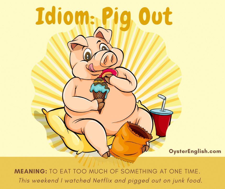A happy pig sits on a cushion eating chips, ice cream and drinking a soda. The caption includes the definition of