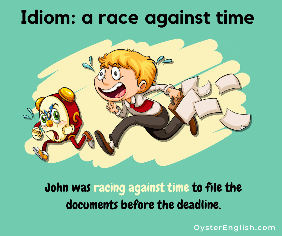 Illustration of a cartoon businessman running after a clock. Papers are flying out of his briefcase: John was racing against time to file the documents before the deadline.