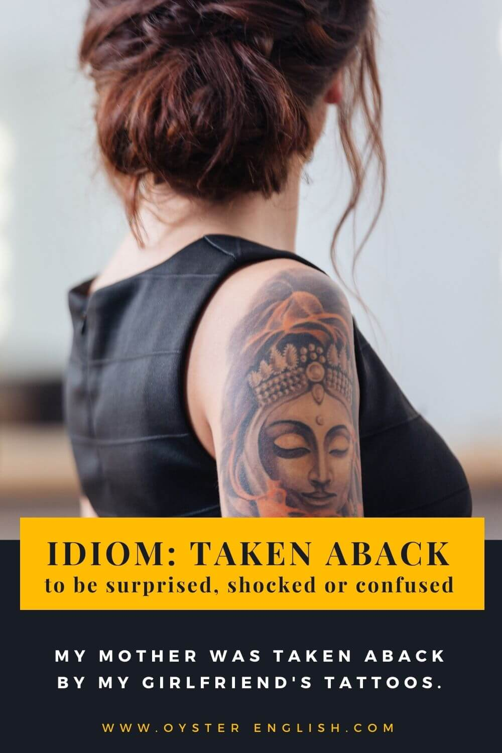 Picture of woman wearing a sleeveless dress with a large tattoo covering her harm to illustrate the idiom,