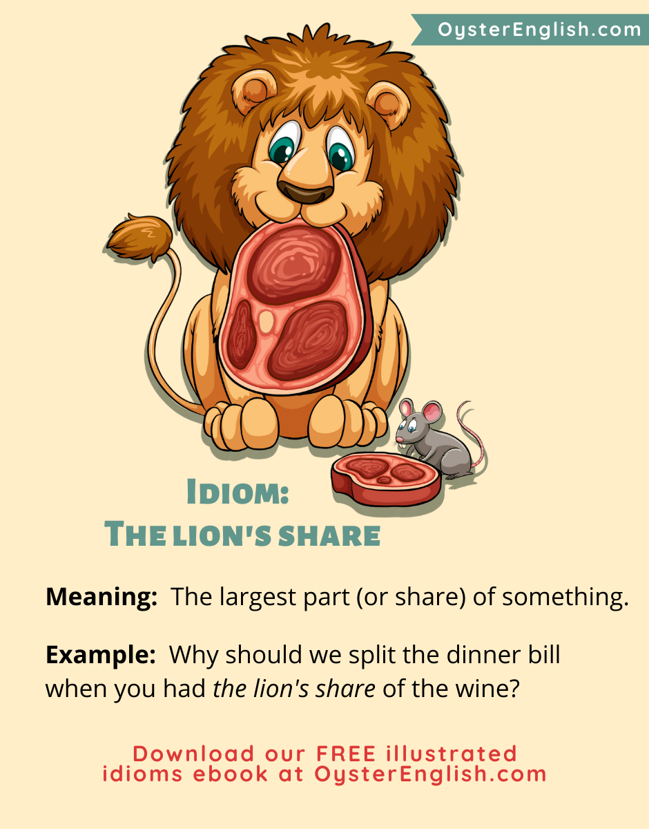 A lion holds a huge steak in its mouth and a mouse has a smaller steak.