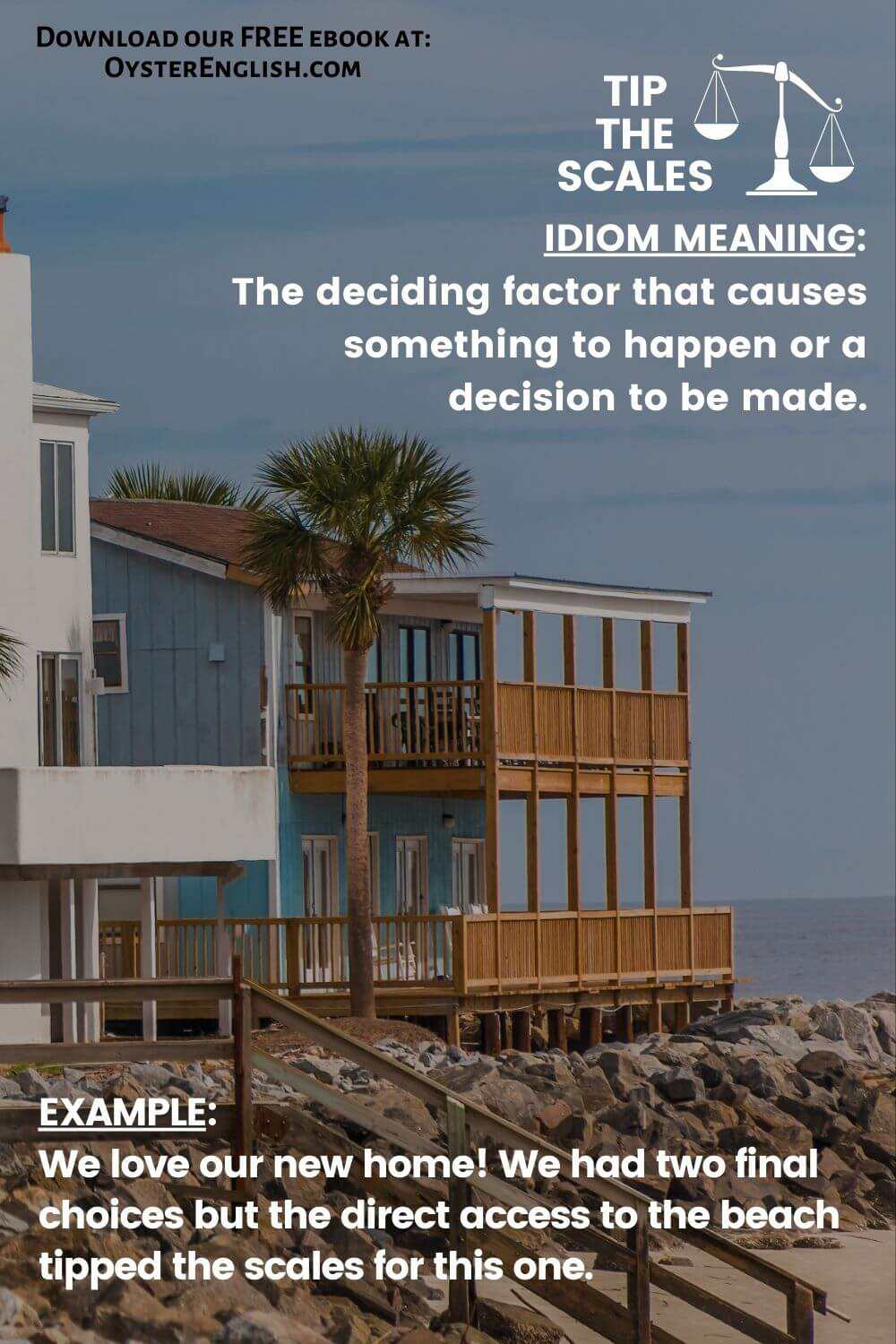 Picture of a beautiful beachfront home to depict the idiom