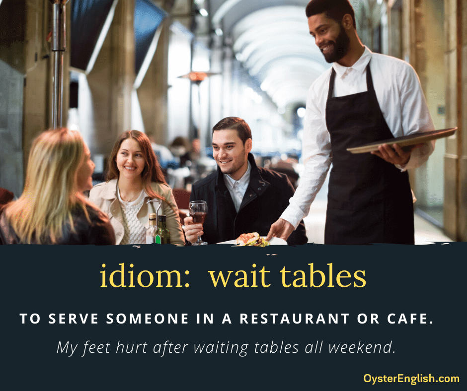 A photo of a waiter putting plates of food on table for his customers and the idiom definition and example: