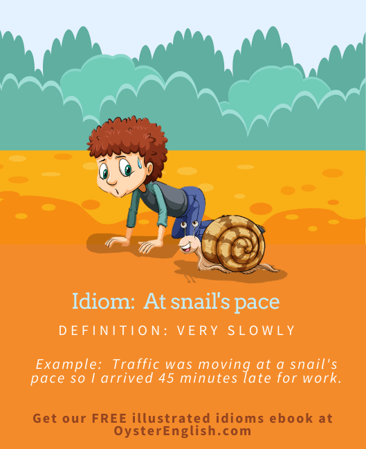 Cartoon boy crawling on his hands and knees is racing a snail to depict the idiom