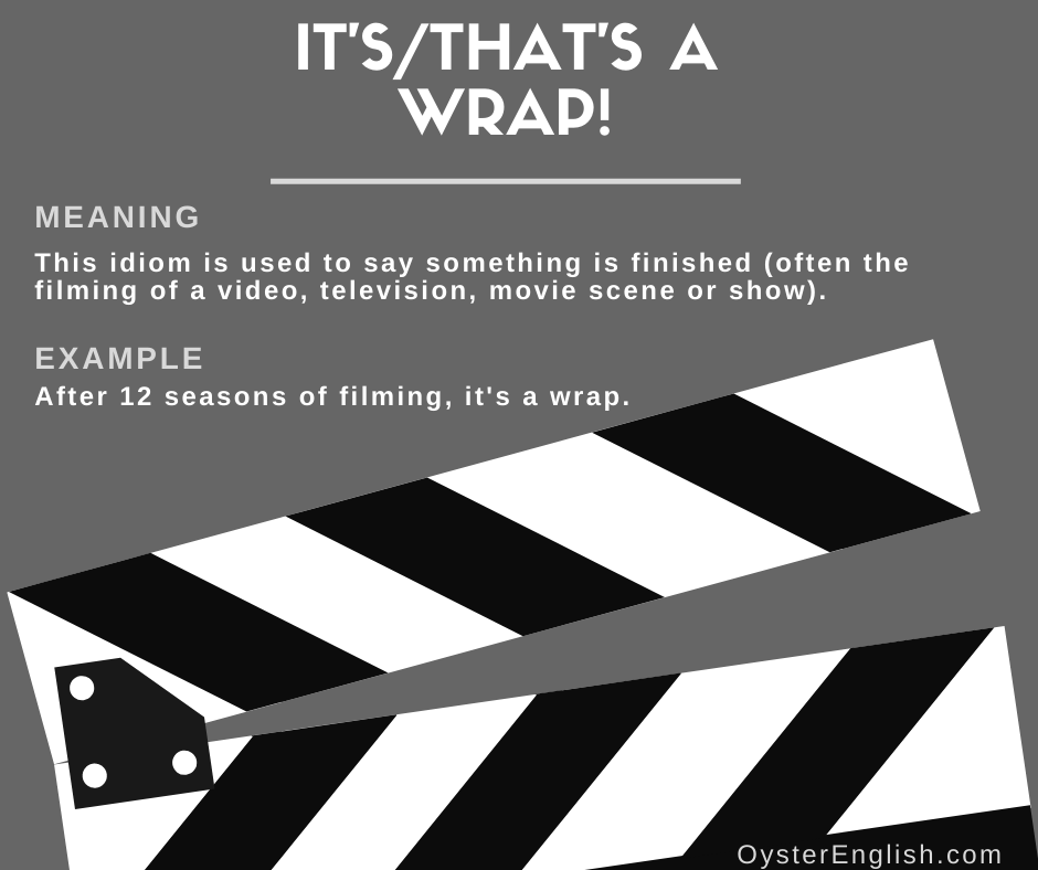 A visual of a filming clapperboard with the definition of the idiom