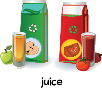 Illustration of two cartons of juice and glasses filled with apple juice and tomato juice.