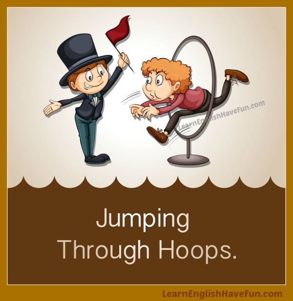 A cartoon ringmaster is directing a stressed out boy to jump through a hoop.