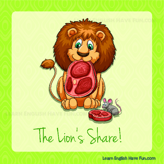 A Lion is eating a huge piece of meat while a mouse is eating a much smaller piece of meat, showing the lion has the lion's share of the food.