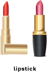 Illustration of a tube of pink lipstick and a tube of red lipstick.