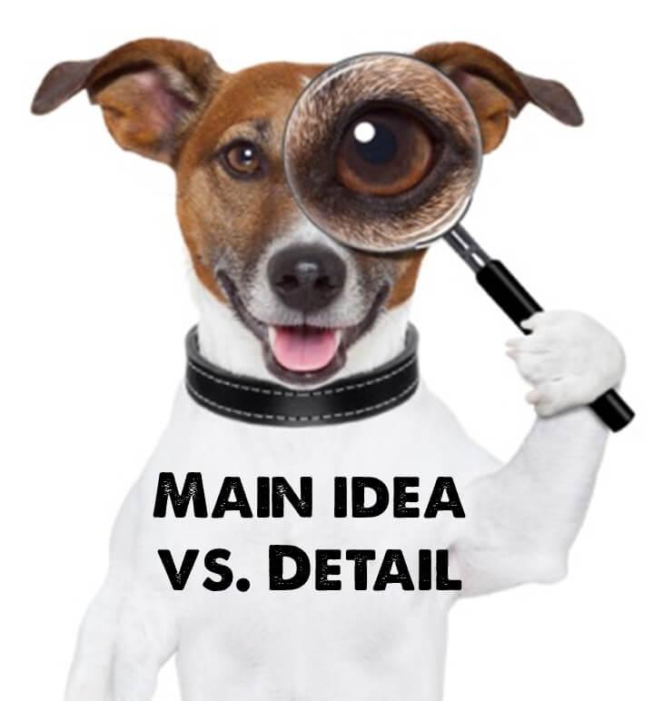 A dog looks through a magnifying glass: Main idea vs detail