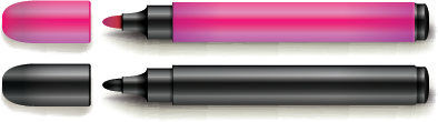 Illustration of two colored markers